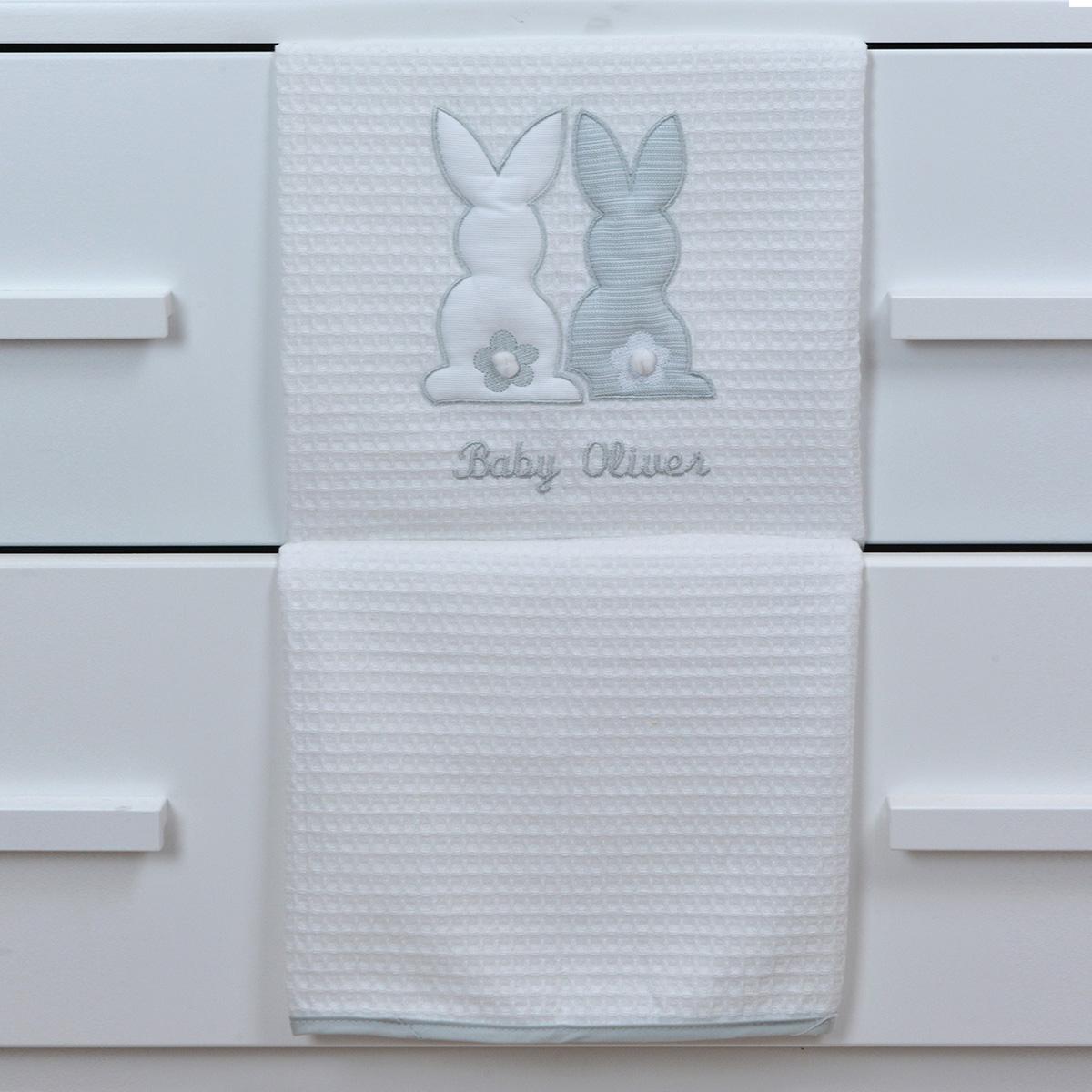 Κουβέρτα Πικέ Αγκαλιάς Baby Oliver Grey Bunny 356