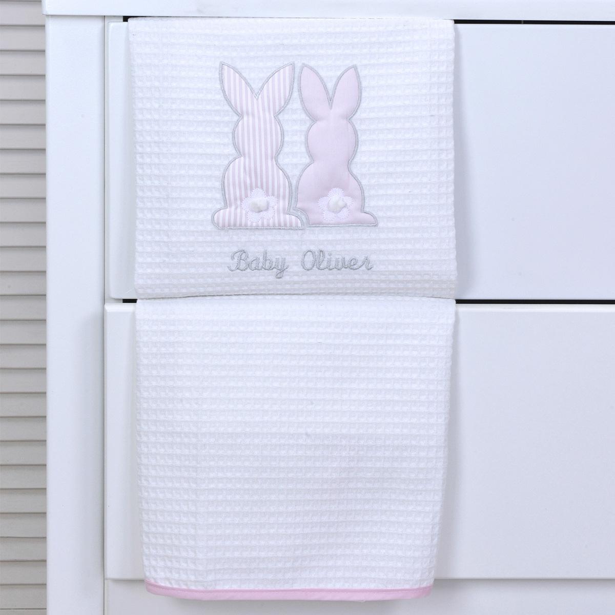 Κουβέρτα Πικέ Κούνιας Baby Oliver Pink Bunny 357
