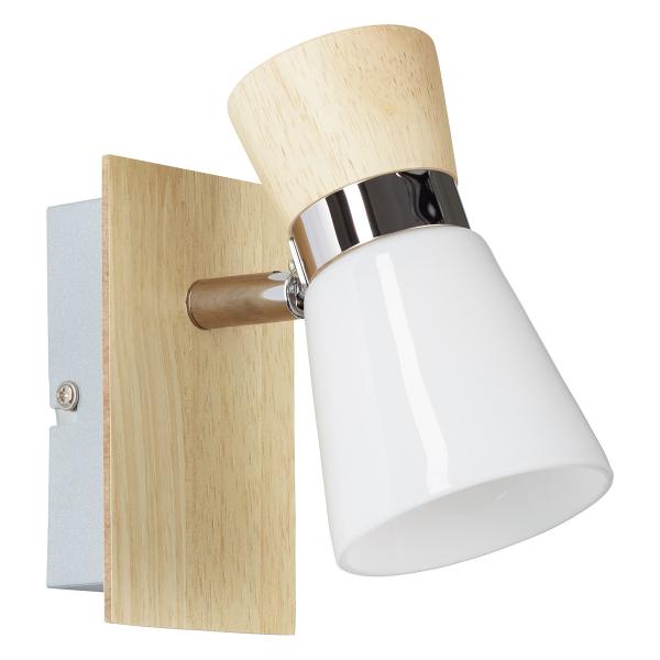 Σποτ Μονόφωτο Brilliant Nacolla 56310/75 Chrome/Natural Wood