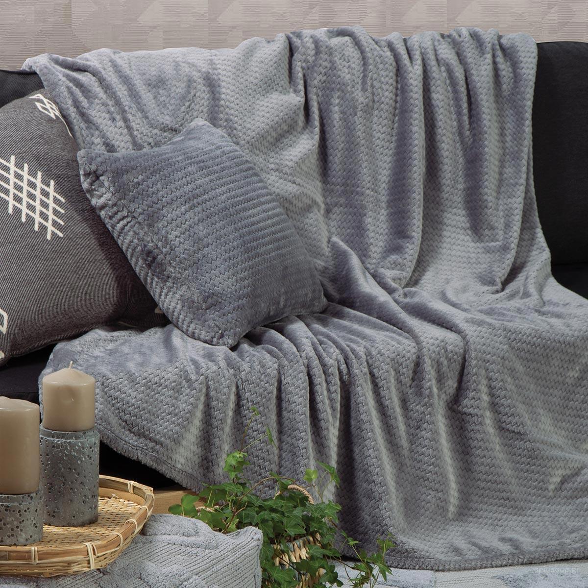 Ριχτάρι Τριθέσιου Fleece (180×300) Nef-Nef Cameron Grey