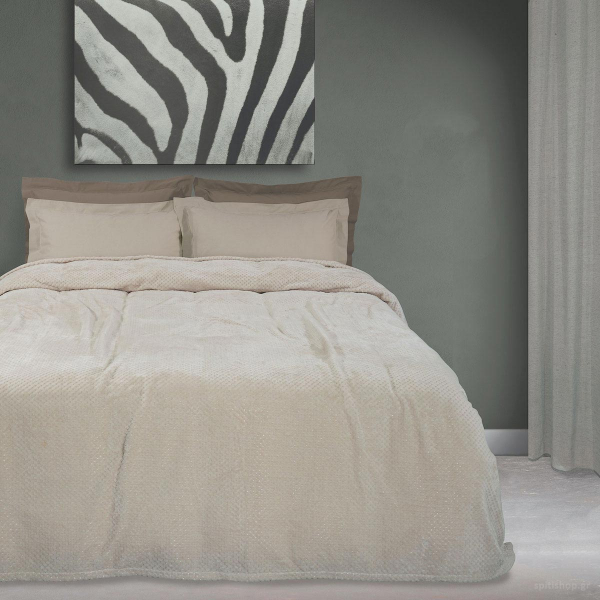 Κουβέρτα Fleece Υπέρδιπλη Das Home Blanket Line 0444 Beige