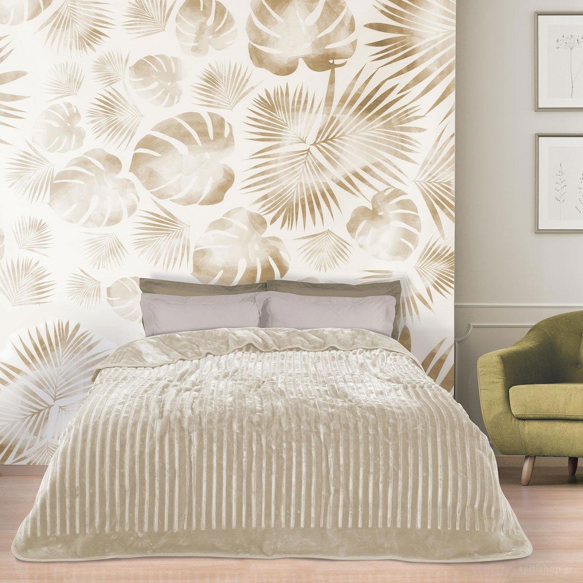 Κουβέρτα Βελουτέ Μονή Das Home Blanket Line 0445 Cream
