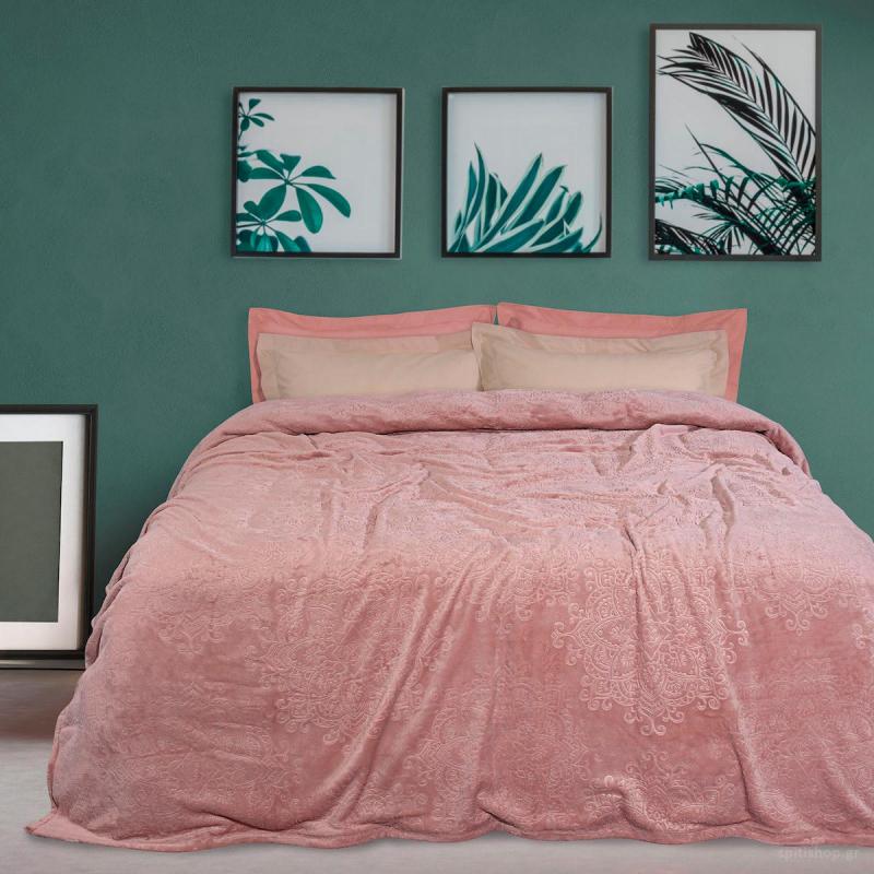 Κουβέρτα Fleece Υπέρδιπλη Das Home Blanket Line 0453 Nude