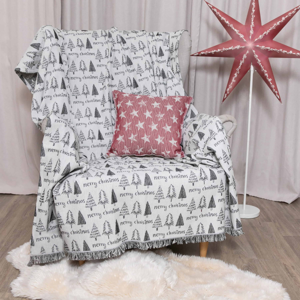 Χριστουγεννιάτικο Ριχτάρι (140x180) Loom To Room Noel Noel Black/White