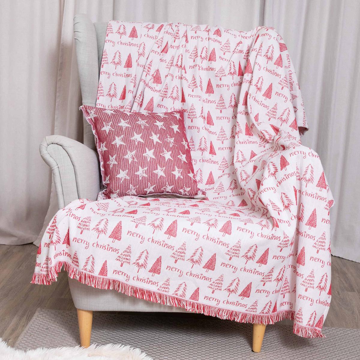 Χριστουγεννιάτικο Ριχτάρι Πολυθρόνας (140×180) Loom To Room Noel Red