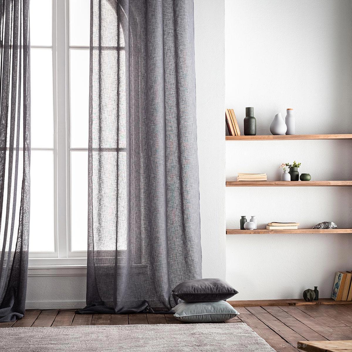 Κουρτίνα (140×280) Με Τρουκς Gofis Home Combe Grey 502/14