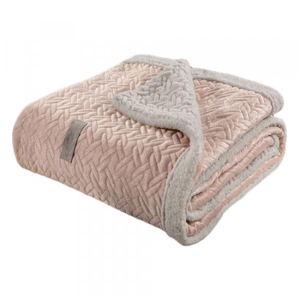 Κουβέρτα Fleece Υπέρδιπλη Με Γουνάκι Guy Laroche Ristretto Pudra