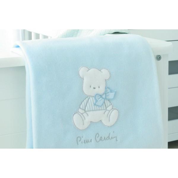 Κουβέρτα Fleece Αγκαλιάς Pierre Cardin Bear Ciel 135