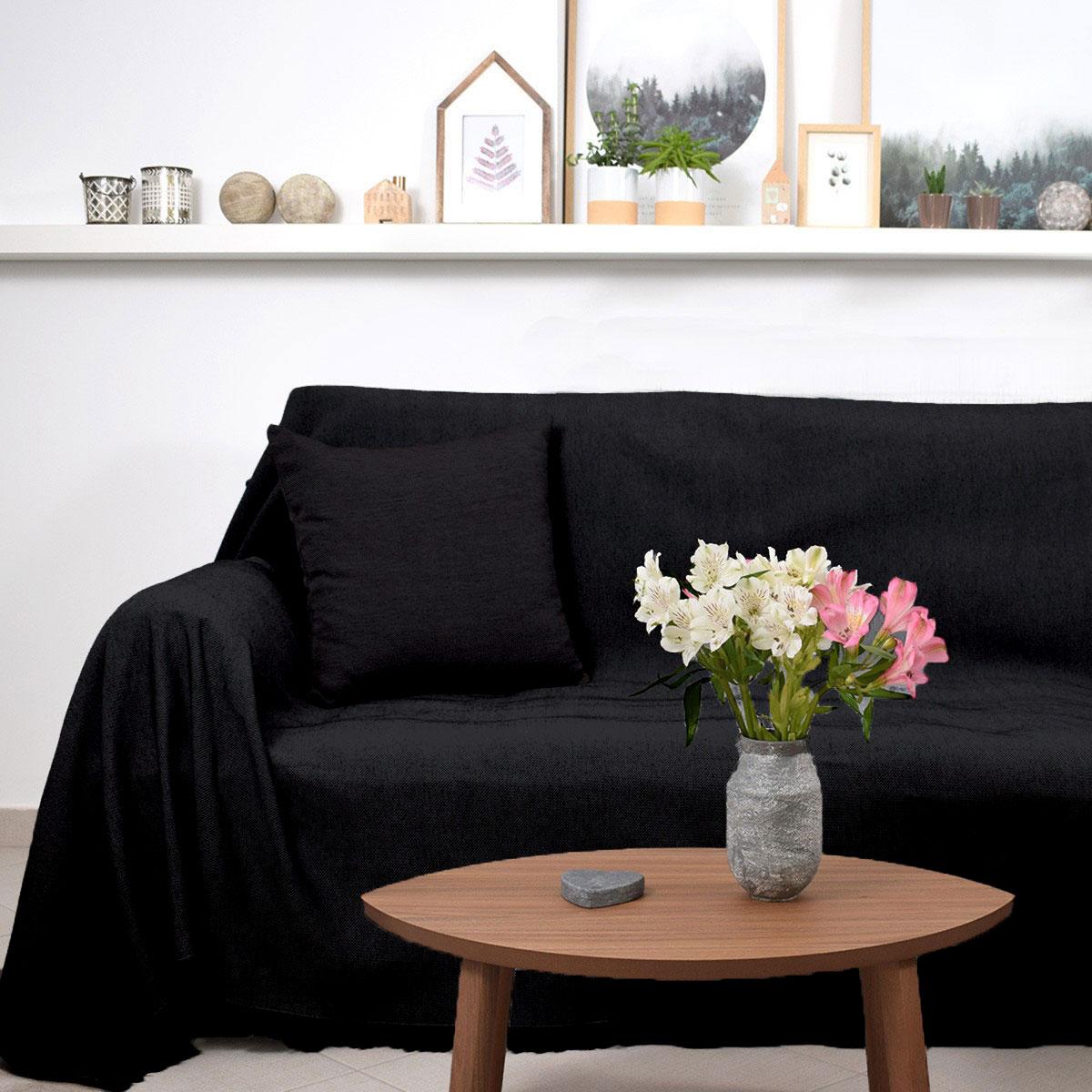 Ριχτάρι Τριθέσιου (180×300) Ravelia Pure Black