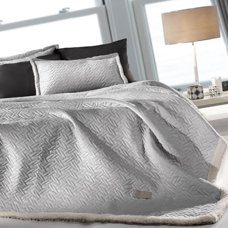 Κουβέρτα Fleece Υπέρδιπλη Με Γουνάκι Guy Laroche Ristretto Silver