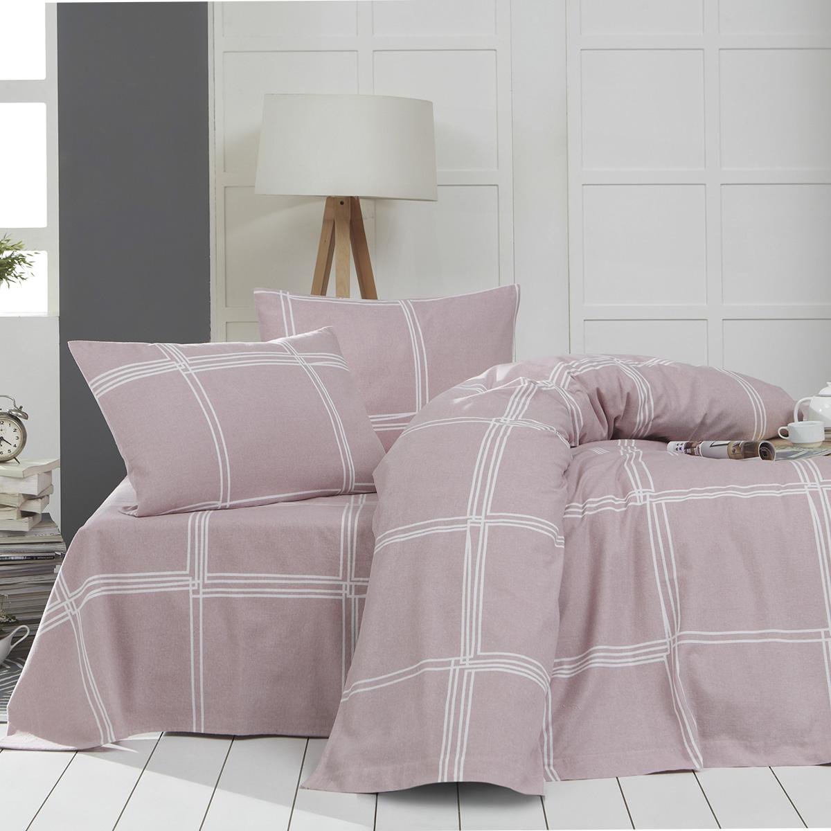 Φανελένια Σεντόνια Υπέρδιπλα (Σετ) Rythmos Joplin Pink ΜΕ ΛΑΣΤΙΧΟ 160×205+25 ΜΕ ΛΑΣΤΙΧΟ 160×205+25