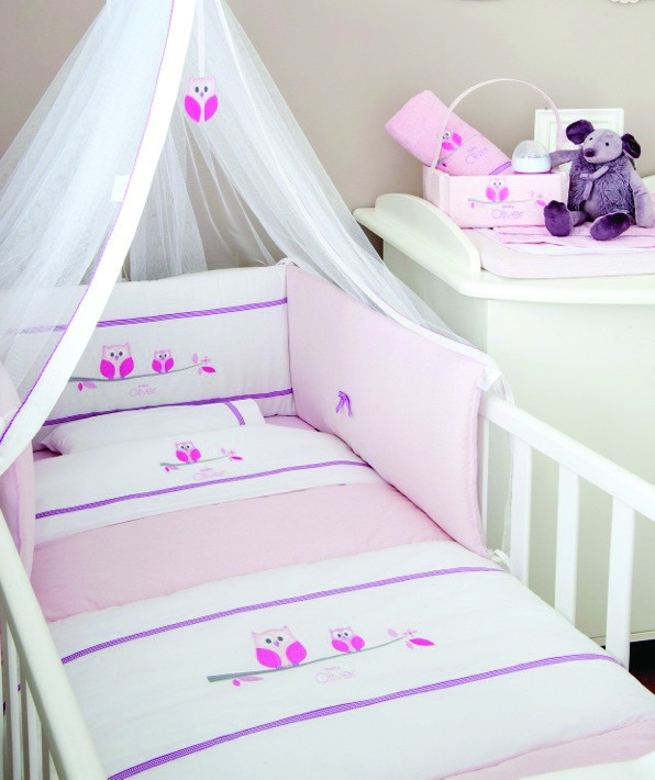 Σεντόνια Κούνιας (Σετ) Baby Oliver Pink Owl 630