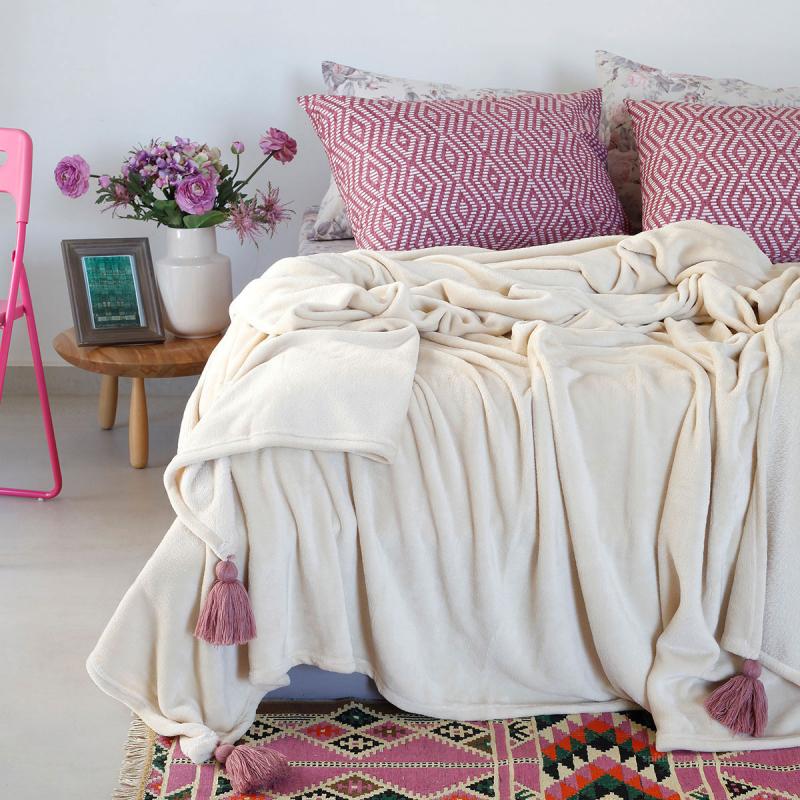 Κουβέρτα Fleece Υπέρδιπλη Melinen Ruby Beige
