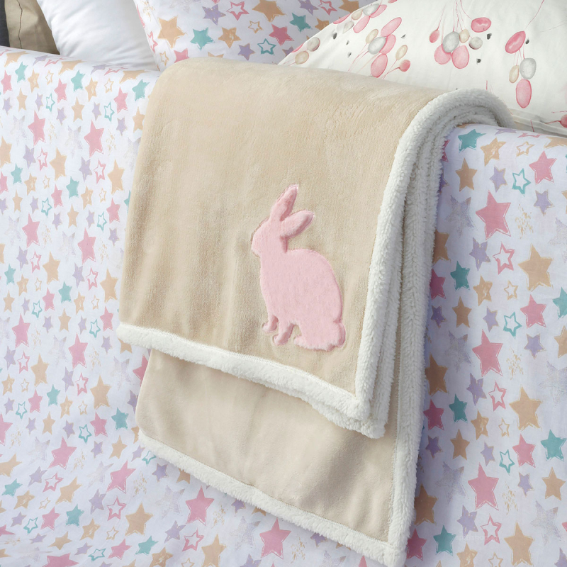 Κουβέρτα Fleece Αγκαλιάς Με Γουνάκι Melinen Rabbit Pink