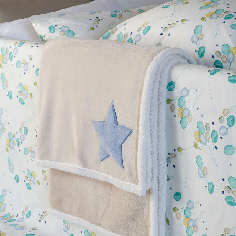 Κουβέρτα Fleece Κούνιας Με Γουνάκι Melinen Star Blue