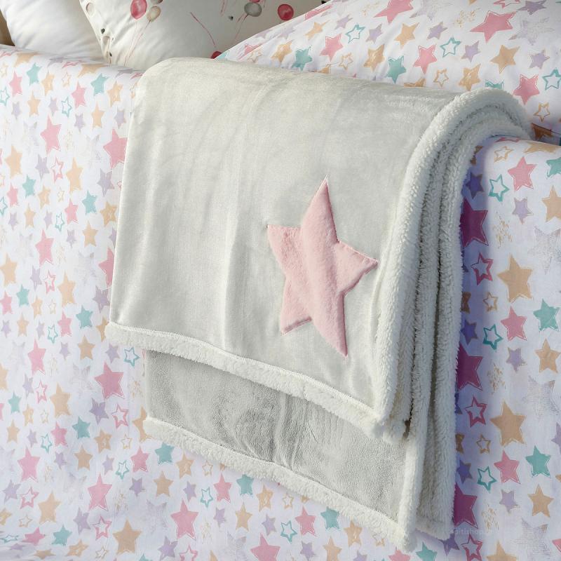 Κουβέρτα Fleece Κούνιας Με Γουνάκι Melinen Star Pink