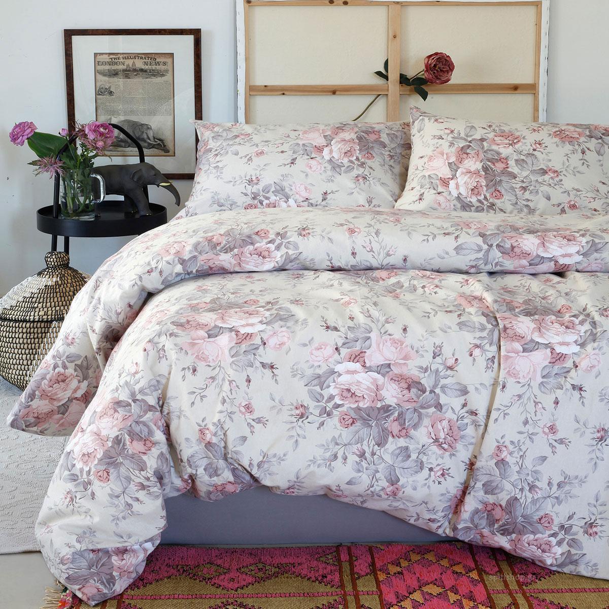 Φανελένια Σεντόνια King Size (Σετ) Melinen Peonia Rose ΧΩΡΙΣ ΛΑΣΤΙΧΟ 260×270 ΧΩΡΙΣ ΛΑΣΤΙΧΟ 260×270