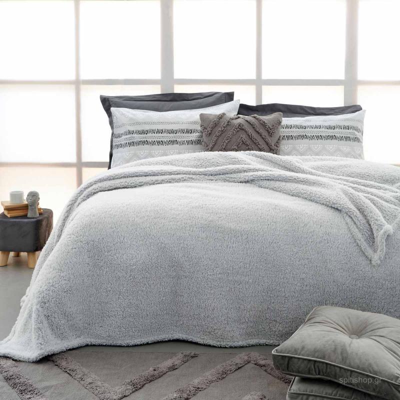 Κουβέρτα Fleece Υπέρδιπλη Palamaiki Sepia Grey