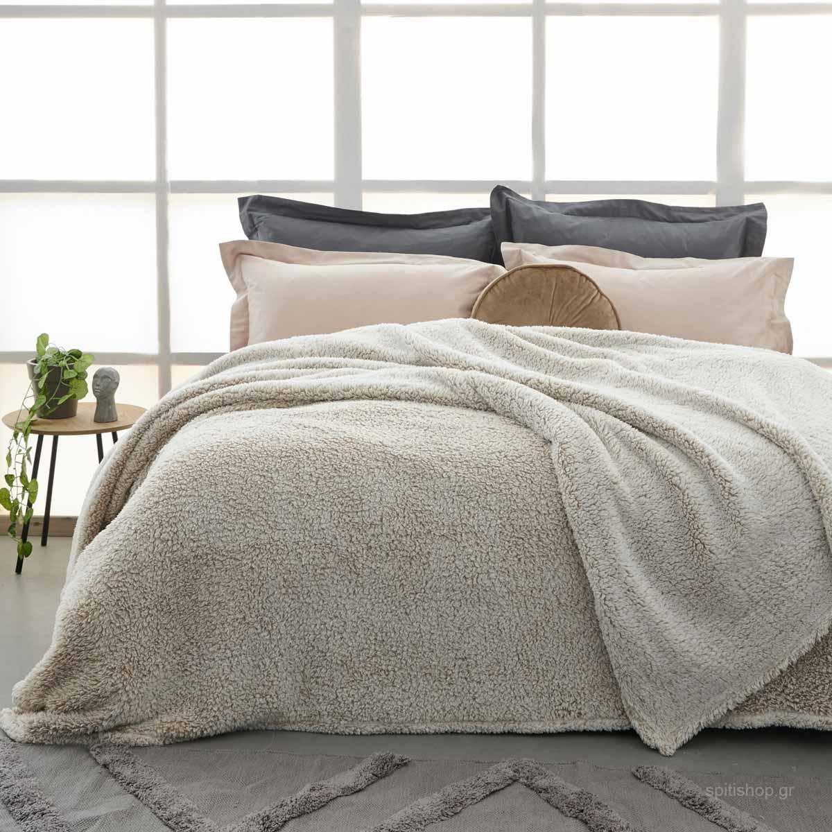 Κουβέρτα Fleece Υπέρδιπλη Palamaiki Sepia Moka