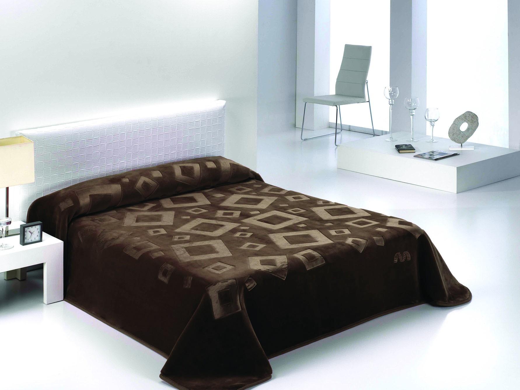 Κουβέρτα Βελουτέ Υπέρδιπλη Morven Harmony Engraved 986 Καφέ 35674