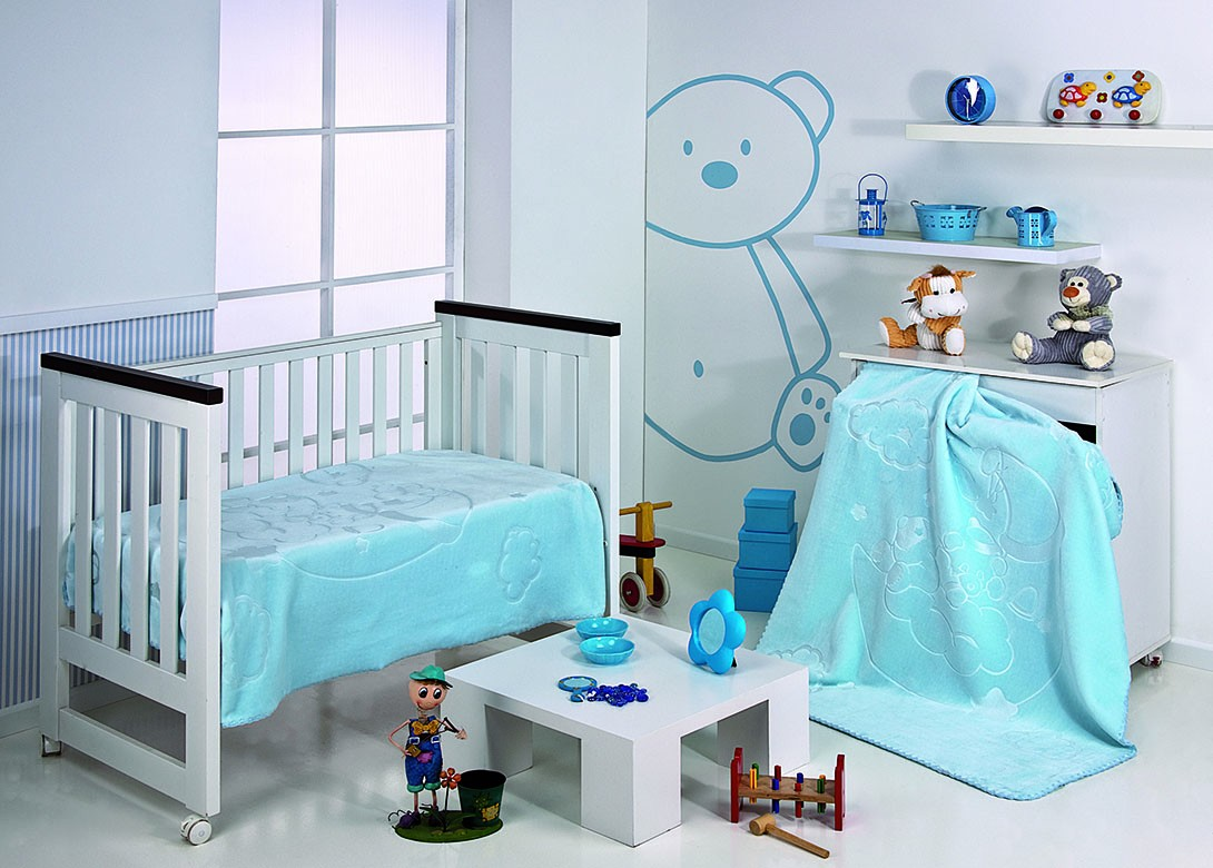 Κουβέρτα Βελουτέ Κούνιας Morven Colours Kids 549 Σιέλ