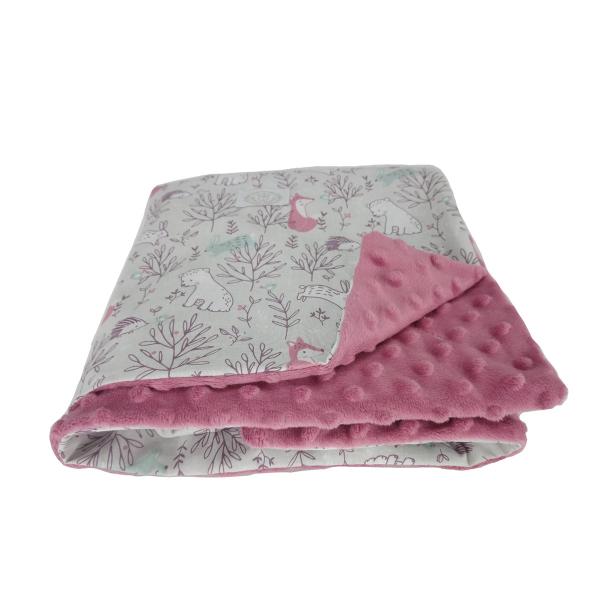 Κουβέρτα Minky Αγκαλιάς Ninna Nanna Pink Woodland