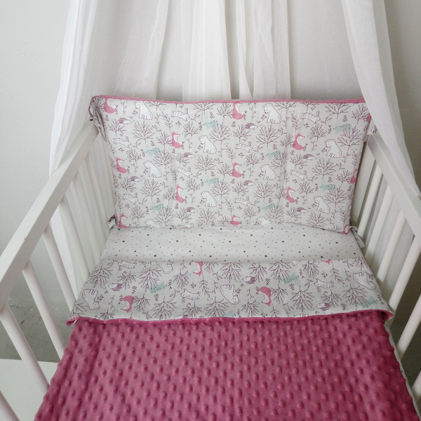 Κουβέρτα Minky Κούνιας Ninna Nanna Pink Woodland