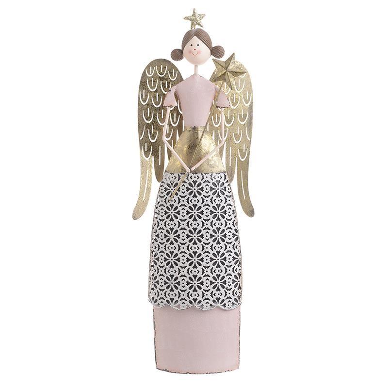 Χριστουγεννιάτικο Διακοσμητικό InArt Άγγελος Χρυσό/Ροζ 2-70-822-0014
