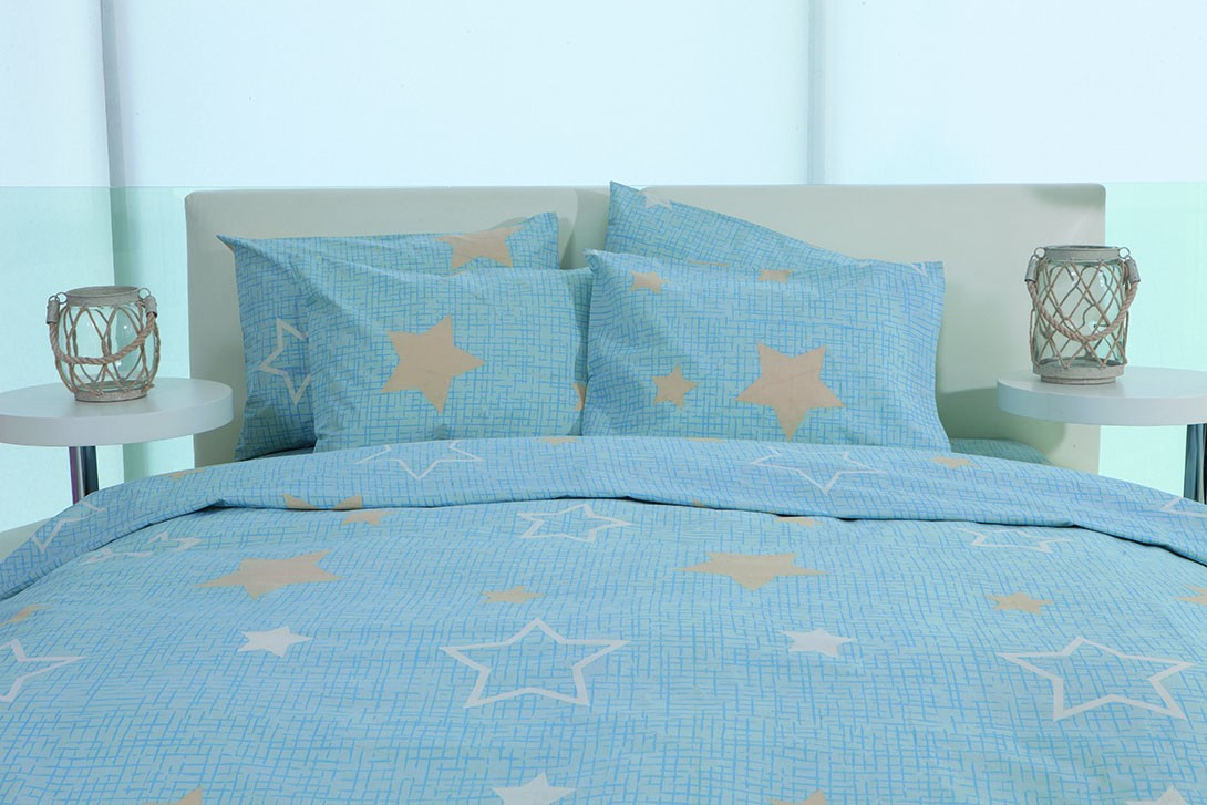 Παπλωματοθήκη Υπέρδιπλη (Σετ) Makis Tselios Star Blue