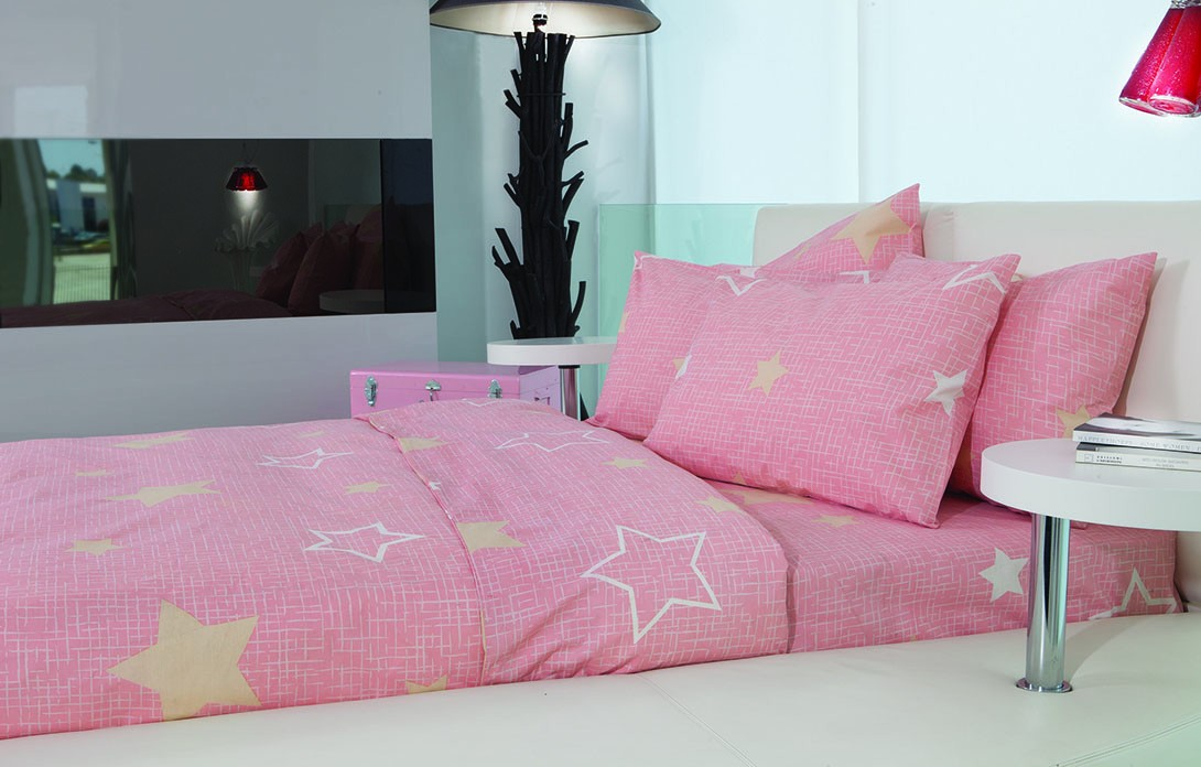 Σεντόνια Μονά (Σετ) Makis Tselios Star Pink