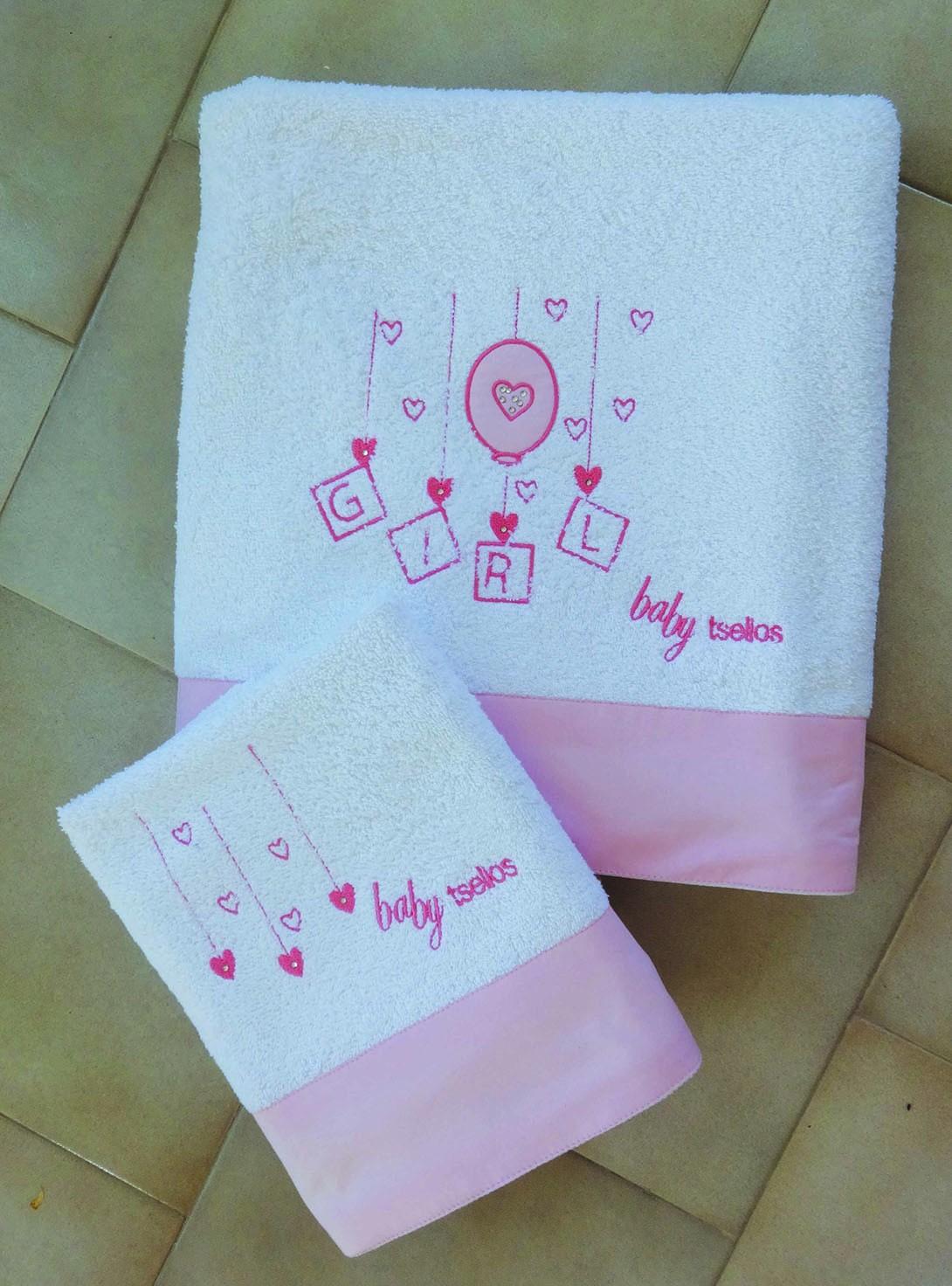 Βρεφικές Πετσέτες (Σετ 2τμχ) Makis Tselios Baby Hearts