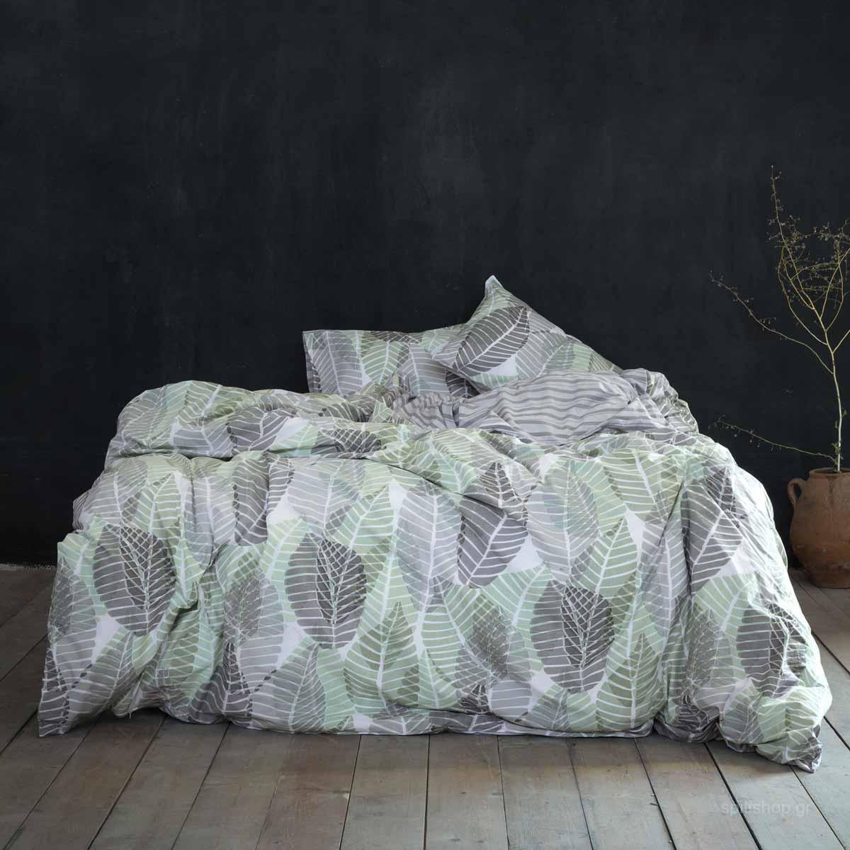 Παπλωματοθήκη Υπέρδιπλη (Σετ) Nima Bed Linen Feuilles Grey