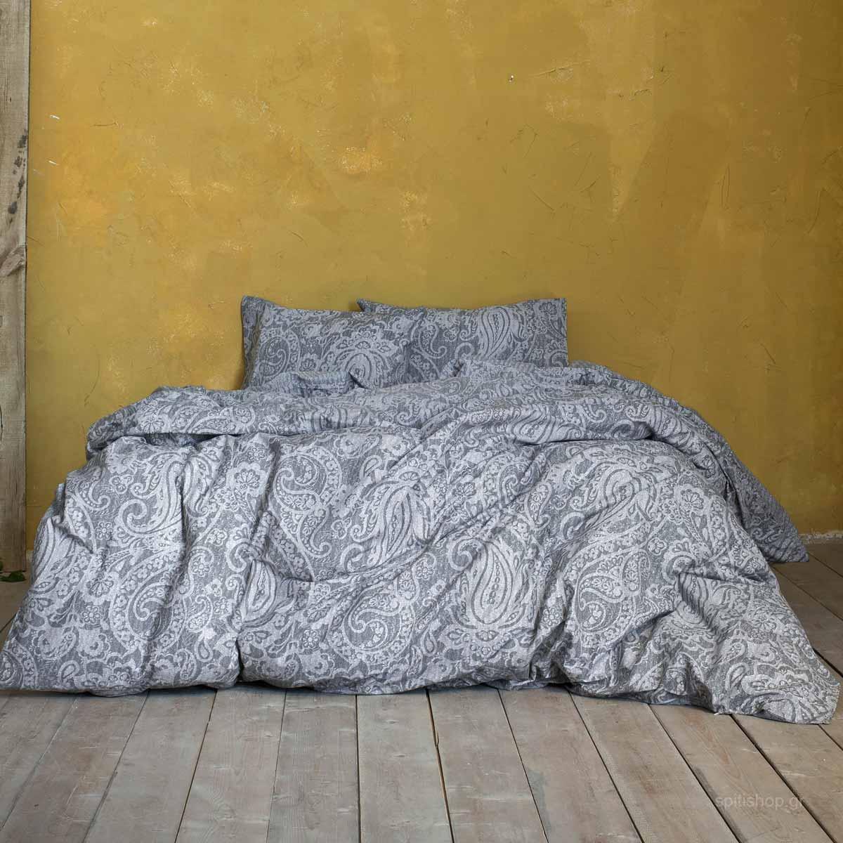 Σεντόνια Υπέρδιπλα (Σετ 240×260) Nima Bed Linen Idalia Grey ΧΩΡΙΣ ΛΑΣΤΙΧΟ 240×260 ΧΩΡΙΣ ΛΑΣΤΙΧΟ 240×260