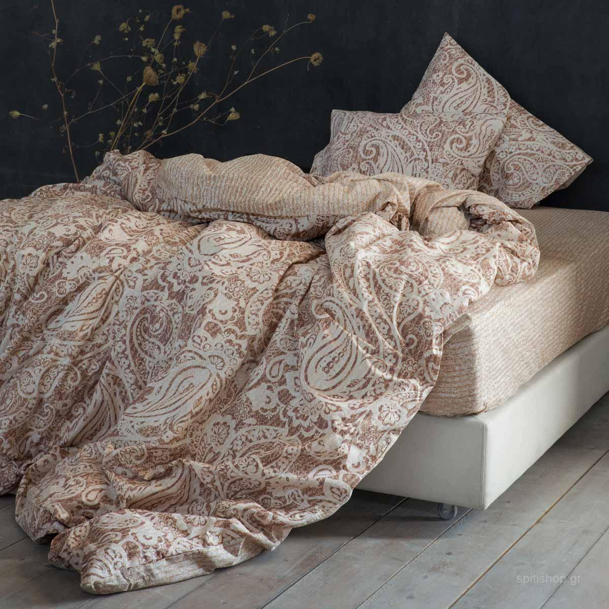 Σεντόνια Υπέρδιπλα (Σετ 240×260) Nima Bed Linen Idalia Beige ΧΩΡΙΣ ΛΑΣΤΙΧΟ 240×260 ΧΩΡΙΣ ΛΑΣΤΙΧΟ 240×260