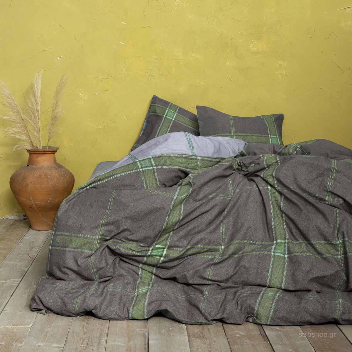 Παπλωματοθήκη Υπέρδιπλη (Σετ) Nima Bed Linen Apparel Green
