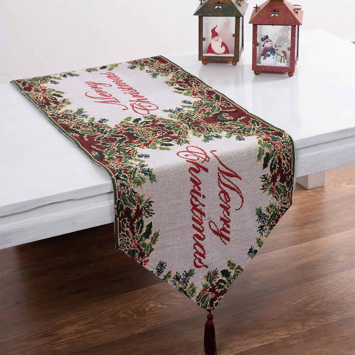 Χριστουγεννιάτικη Τραβέρσα Silk Fashion Merry Xmas