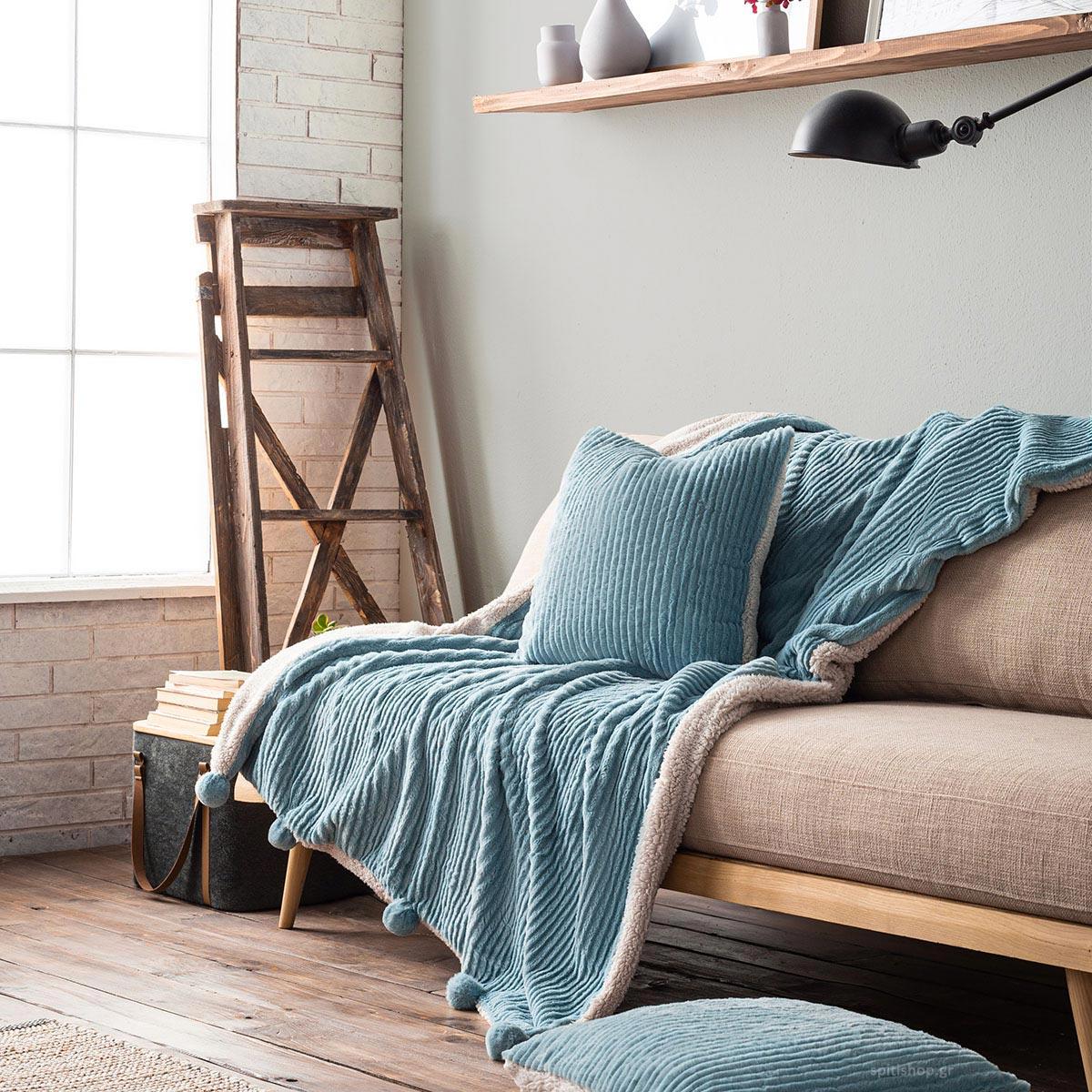 Κουβέρτα Καναπέ Gofis Home Softy Ciel 478/01