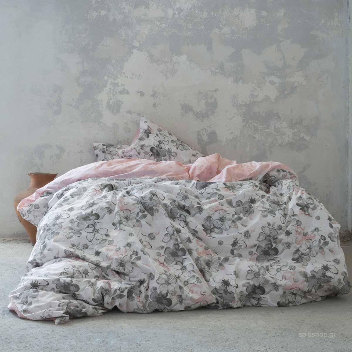 Σεντόνια Υπέρδιπλα (Σετ 240×260) Nima Bed Linen Brindille Pink ΜΕ ΛΑΣΤΙΧΟ 160×200+32 ΜΕ ΛΑΣΤΙΧΟ 160×200+32