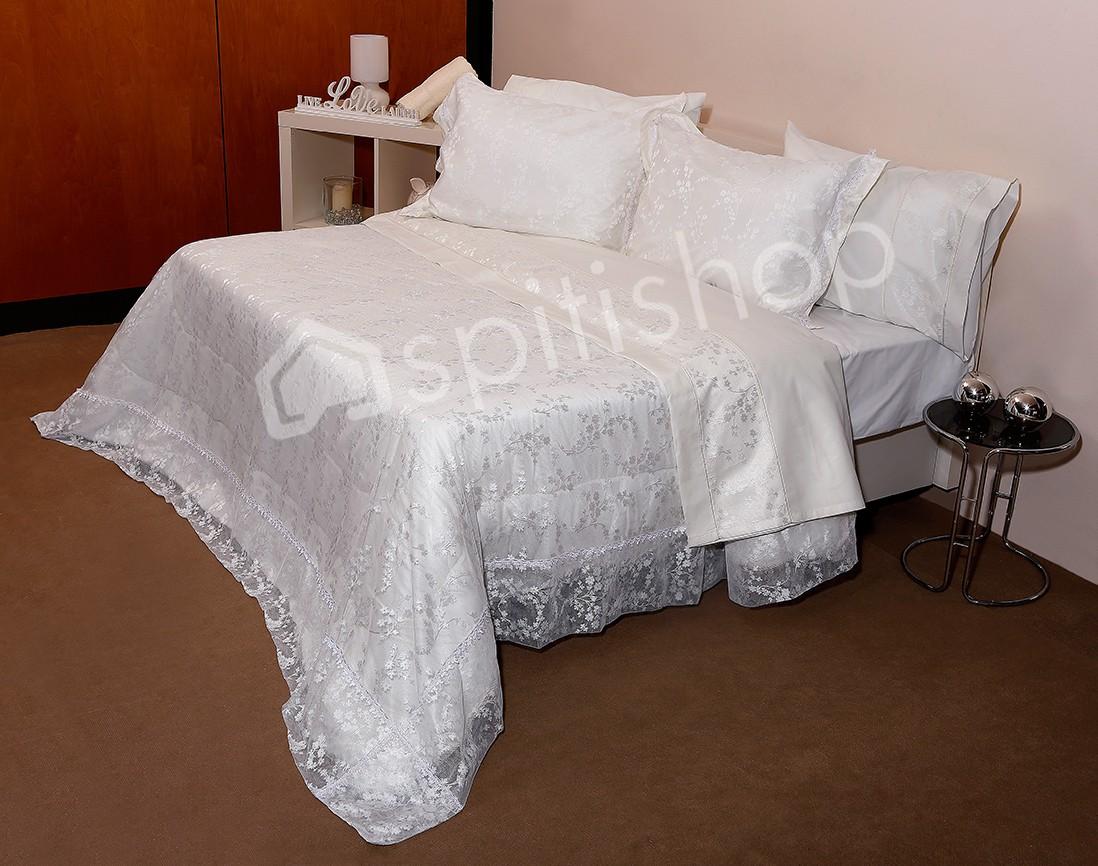 Νυφικό Κουβερλί (Σετ) Viopros 1017 Λευκό