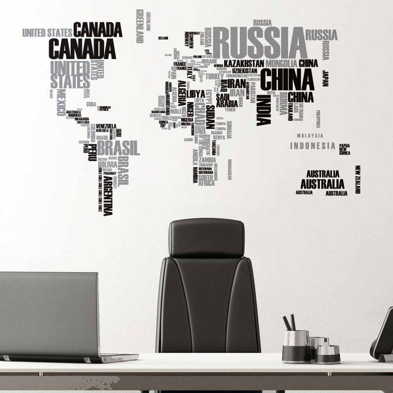 Αυτοκόλλητο Τοίχου Ango World Map 57110