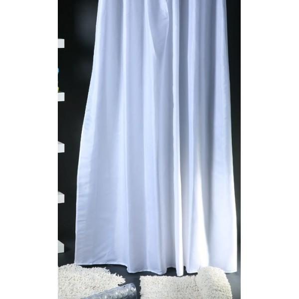 Κουρτίνα Μπάνιου (180x180) Viopros Unicolor Λευκό