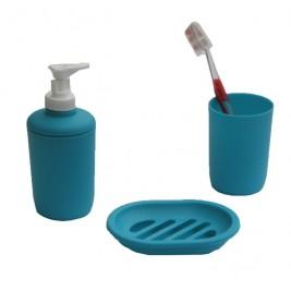 Αξεσουάρ Μπάνιου (Σετ 3τμχ) Viopros Bath Accessories Τυρκουάζ