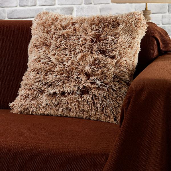Διακοσμητική Μαξιλαροθήκη (43x43) Whitegg Γούνινο Καφέ