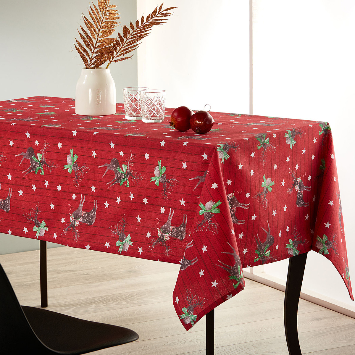 Χριστουγεννιάτικο Τραπεζομάντηλο (140×220) Whitegg Lon10