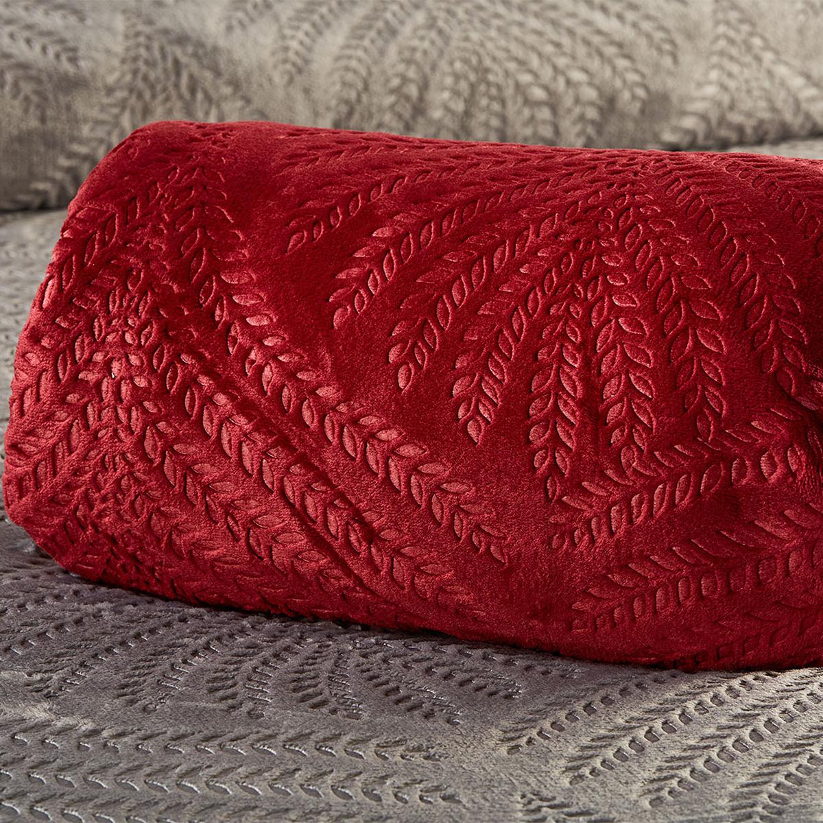 Κουβέρτα Fleece Υπέρδιπλη White Egg Coral Φύλλα 3 Bordeaux
