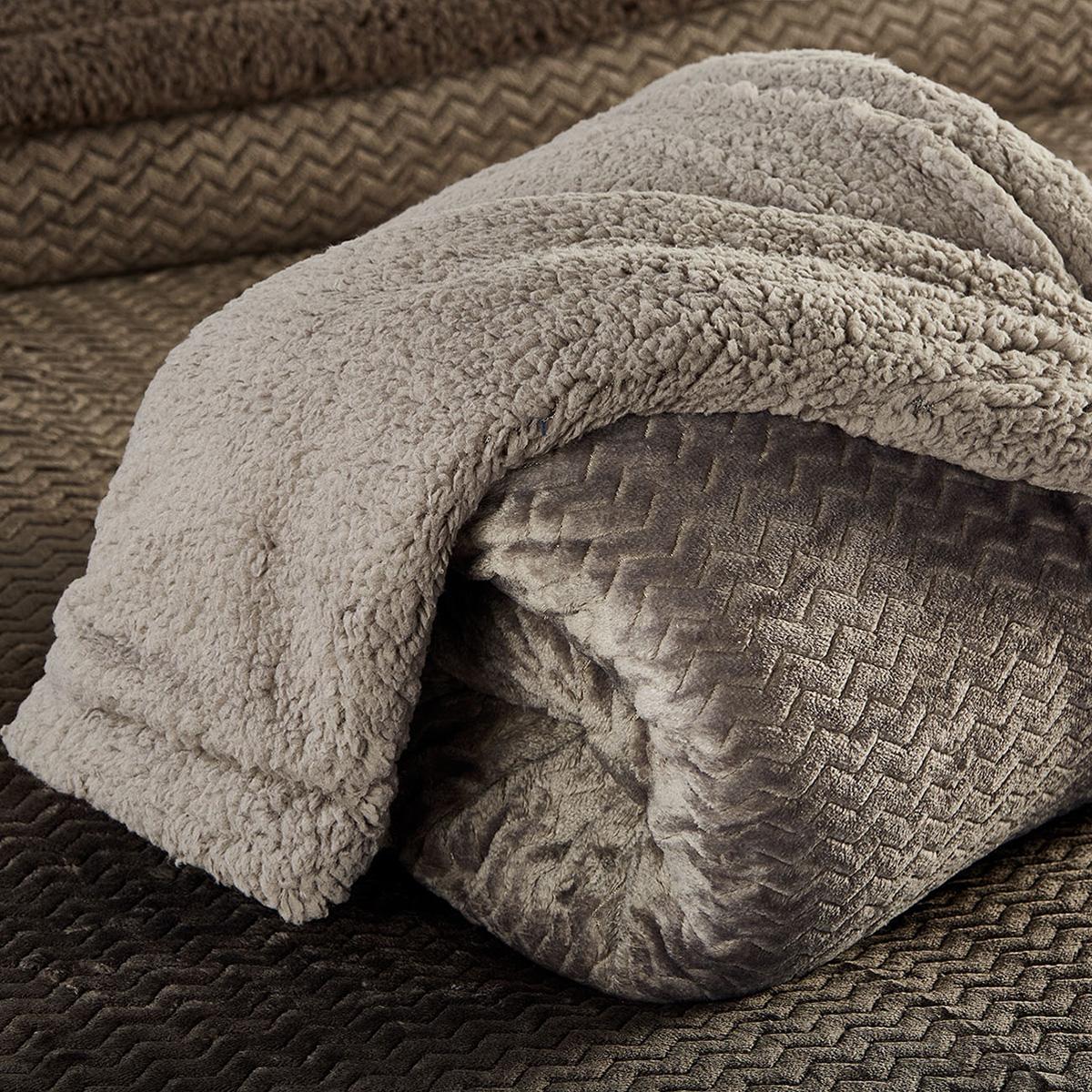 Κουβέρτα Fleece Υπέρδιπλη Με Γουνάκι White Egg Coral-Sherpa 6 Grey