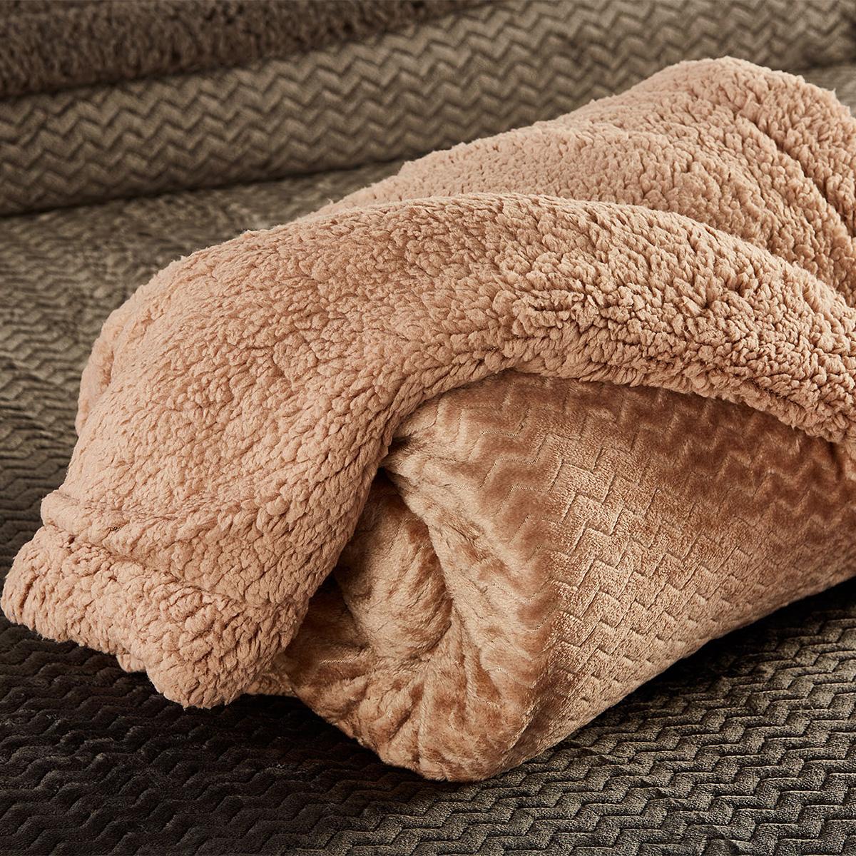 Κουβέρτα Fleece Μονή Με Γουνάκι White Egg Coral-Sherpa 2 Nude