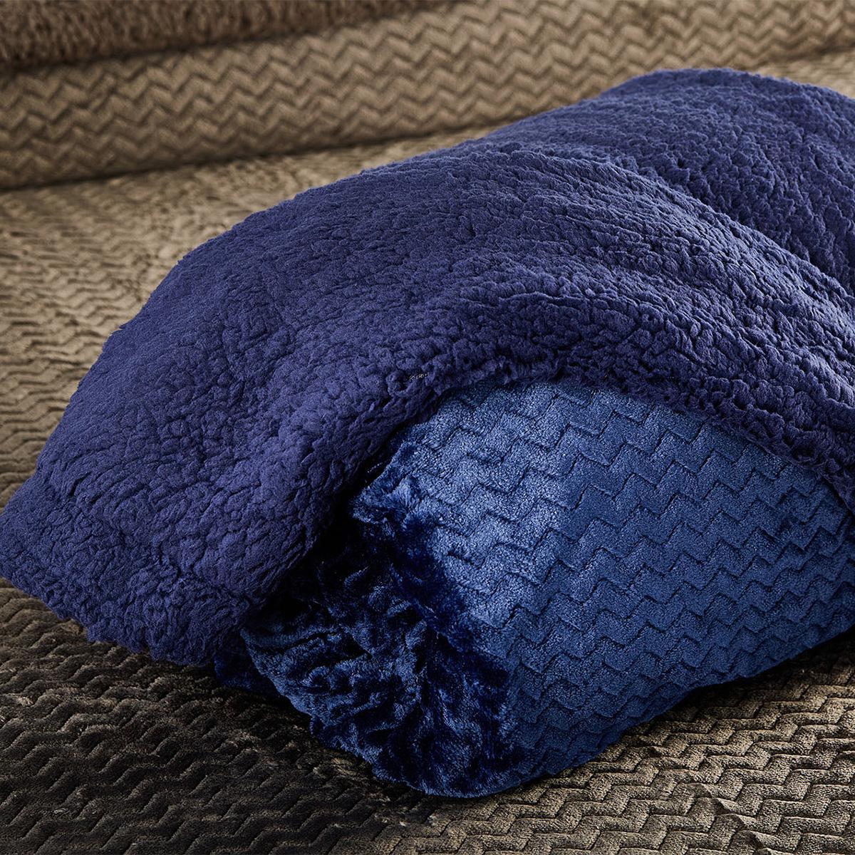 Κουβέρτα Fleece Μονή Με Γουνάκι White Egg Coral-Sherpa 4 Blue