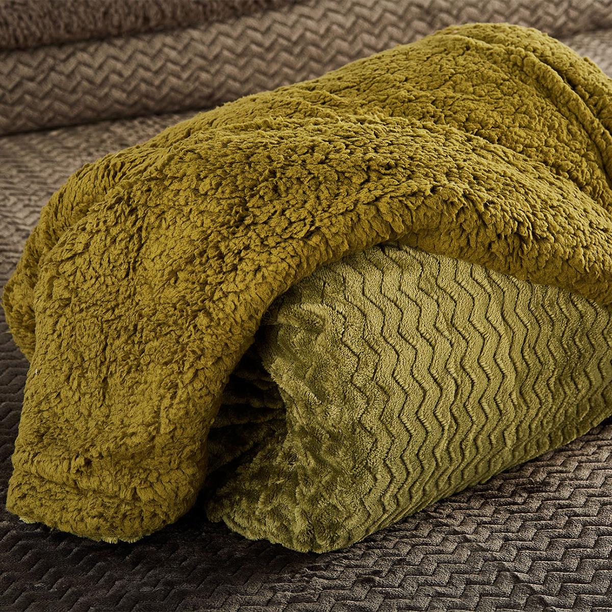 Κουβέρτα Fleece Μονή Με Γουνάκι White Egg Coral-Sherpa 9 Olive