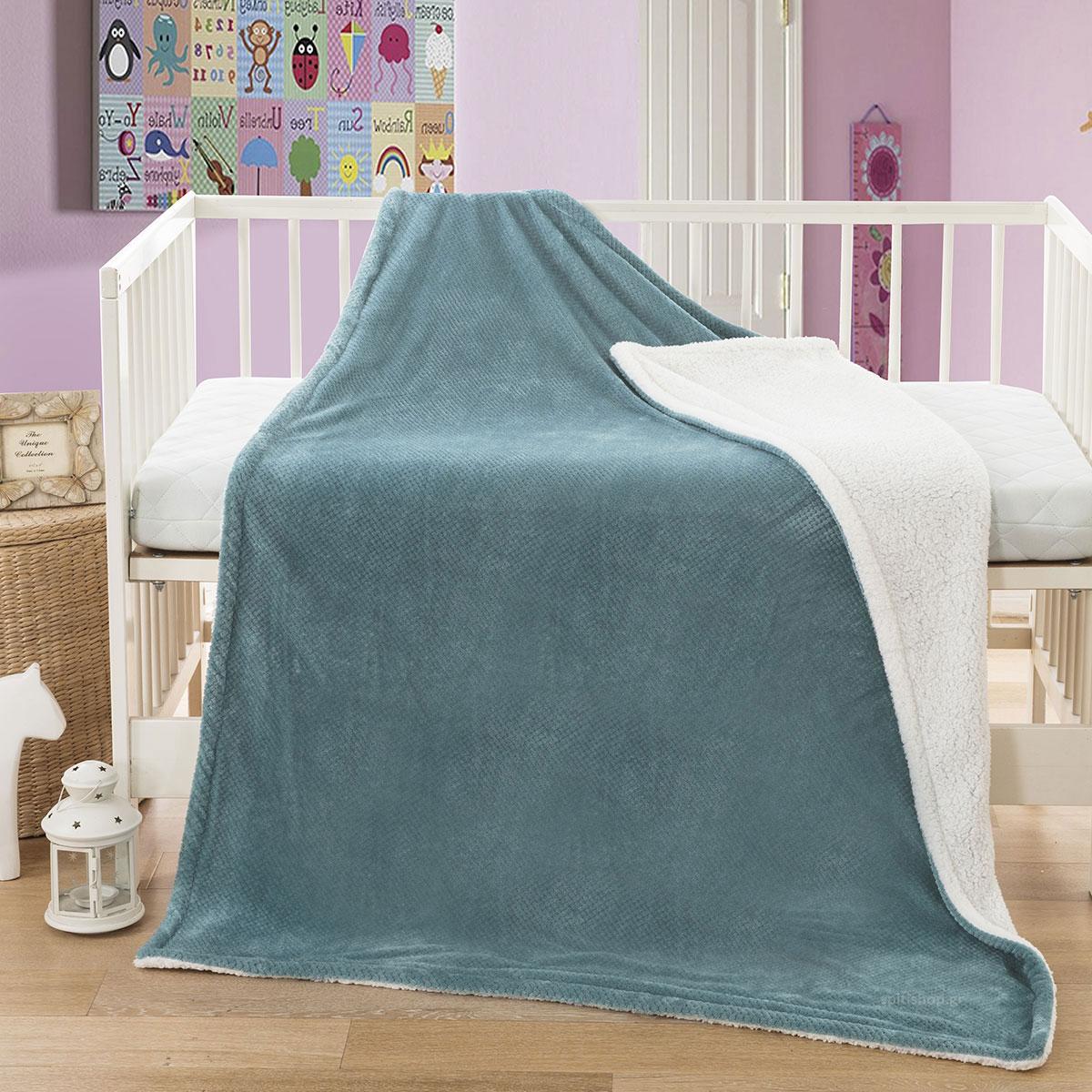 Κουβέρτα Fleece Κούνιας Anna Riska Cozy Lake Blue